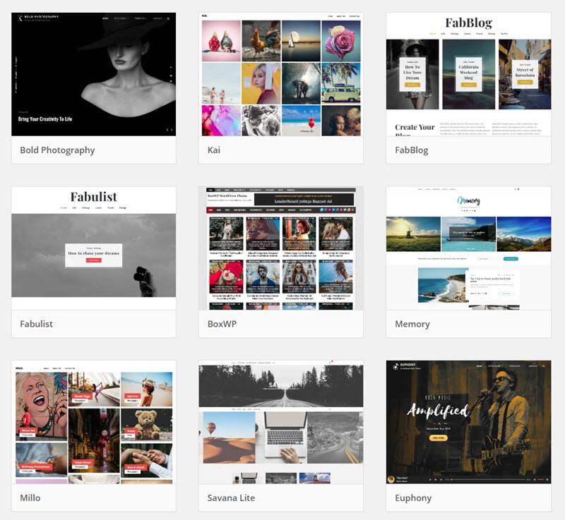 Sample WordPress blog templates for photographers