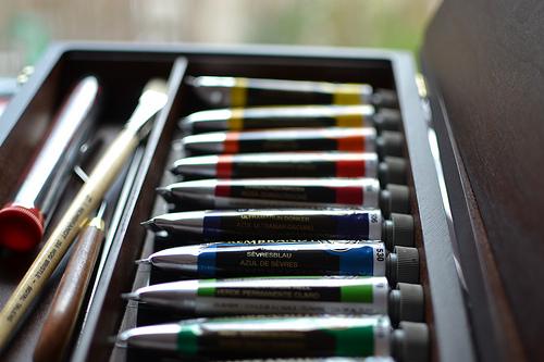 Tubes of gouache photo mix colours paint box