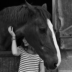 portrait photo woman horse black and white