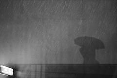 Umbrella rain shadow silhouette black and white