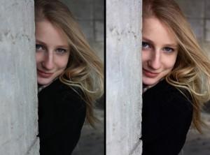 RAW before/after photo portrait woman street development