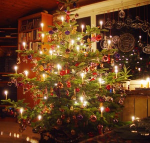 Christmas tree light photo white balance warm colours