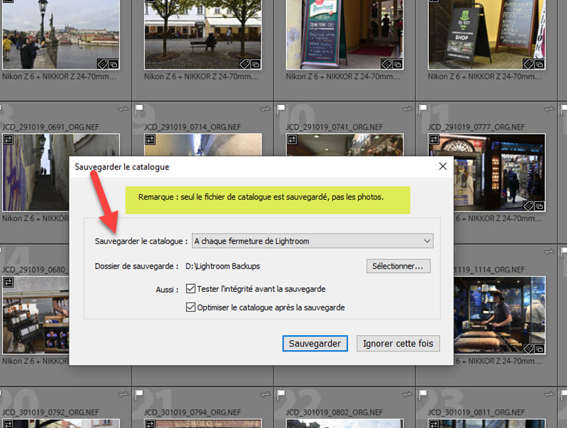 How to save the Lightroom Classic catalogue