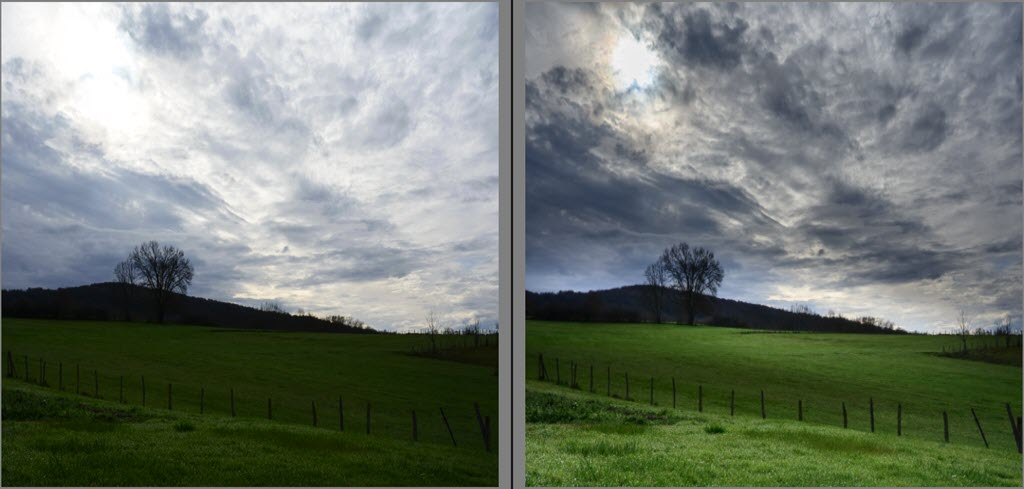 How to process a landscape photo, before and after