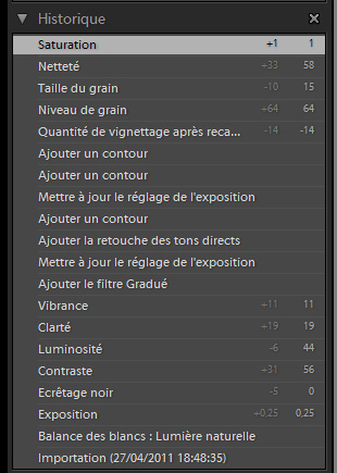processing history of a RAW file in Adobe Lightroom